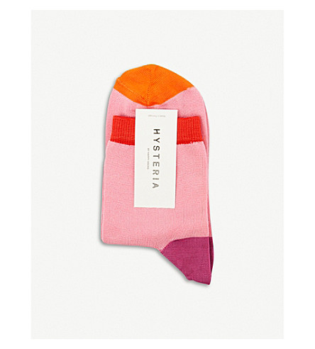 HYSTERIA Grace colour-block ankle socks (Pink