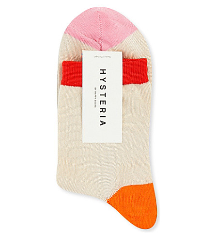 HYSTERIA Grace knitted ankle socks (Cream