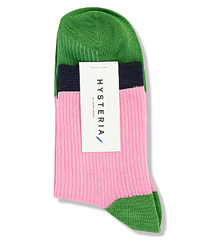 HYSTERIA Janna colour-block ankle socks (Pink