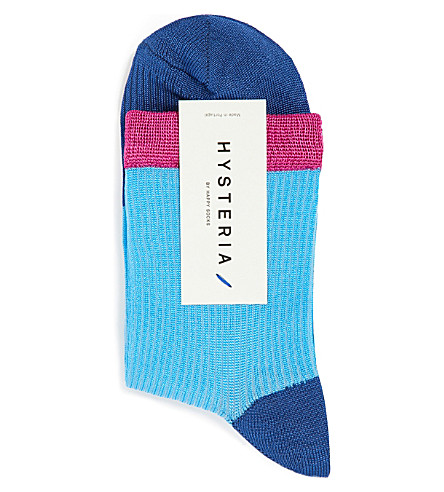 HYSTERIA Janna colour-block ankle socks (Blue