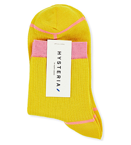 HYSTERIA Lily Rib ankle socks (Yellow