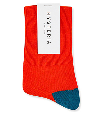 HYSTERIA Marina colour-block ankle socks (Red