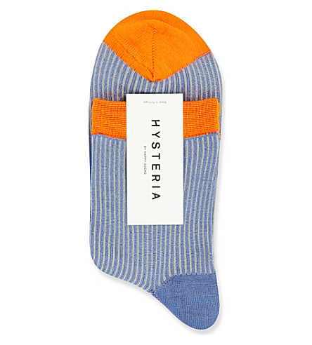 HYSTERIA Rita knitted ankle socks (Blue+w+orange