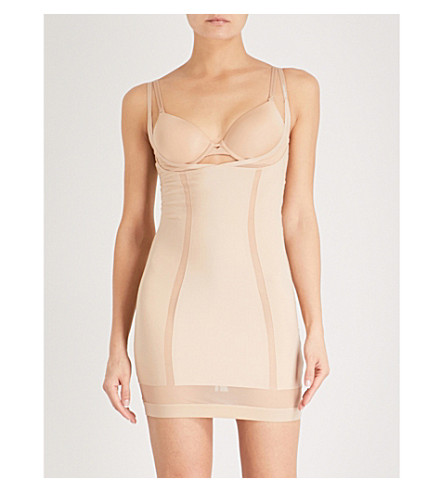 CALVIN KLEIN Mesh-panel stretch-jersey slip dress (Bare