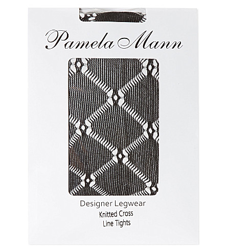 PAMELA MANN Knitted crossline tights (Black
