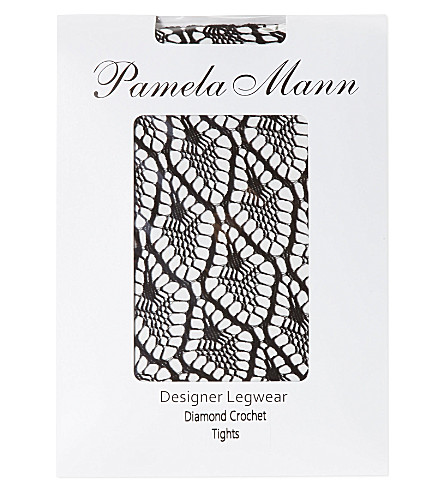PAMELA MANN Diamond crochet tights (Black
