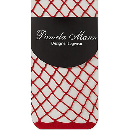 PAMELA MANN Net ankle socks (Red
