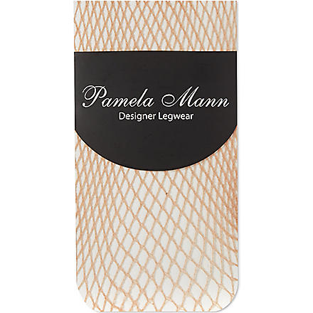PAMELA MANN Fishnet ankle socks (Natural