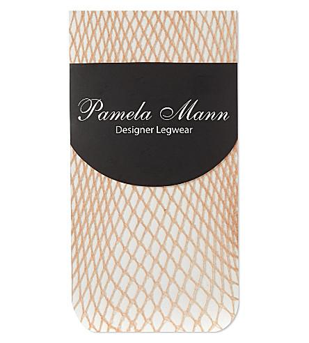 PAMELA MANN Fishnet ankle socks (Natural