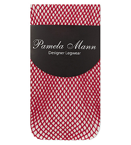 PAMELA MANN Fishnet knee high socks (Cerise