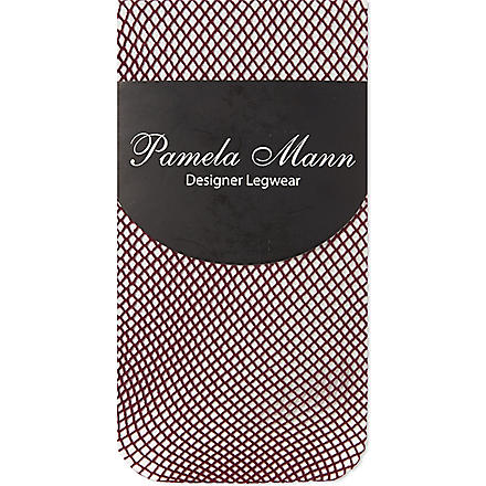 PAMELA MANN Fishnet knee high socks (Damson