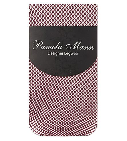 PAMELA MANN Fishnet knee high socks (Damson