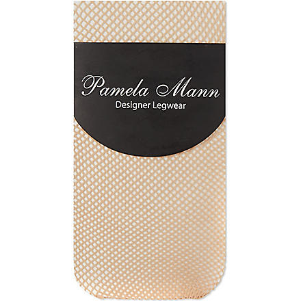 PAMELA MANN Fishnet knee high socks (Natural