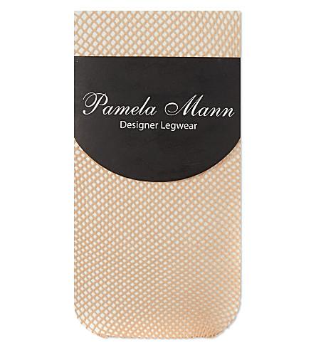 PAMELA MANN Fishnet knee high socks (Natural