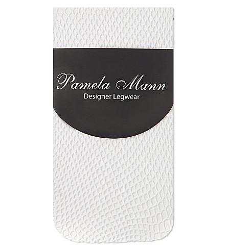 PAMELA MANN Fishnet knee high socks (White