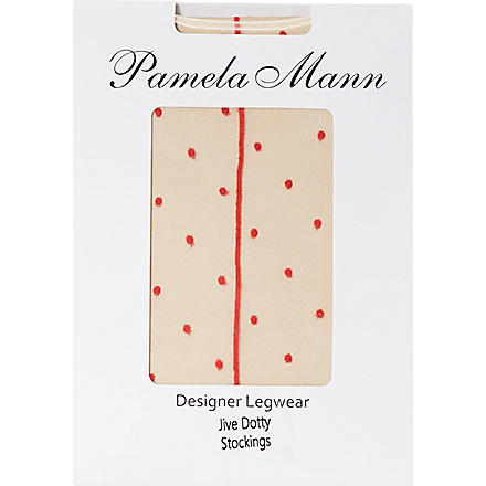 PAMELA MANN Jive dotty stockings (Red