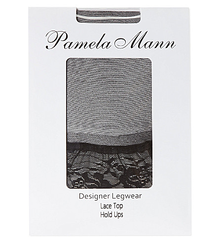 PAMELA MANN Lace top hold-ups (Black