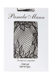 PAMELA MANN Linked leaf lace net tights