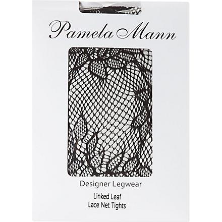 PAMELA MANN Linked leaf lace net tights (Black