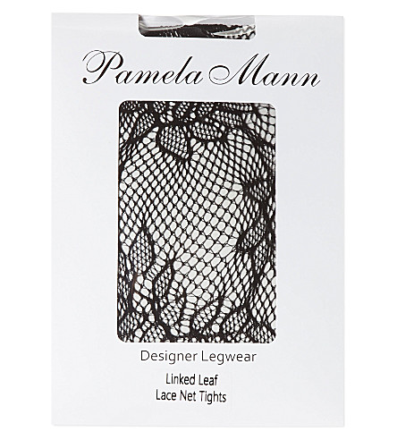 PAMELA MANN Linked leaf lace net tights (Black