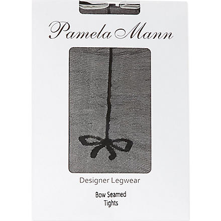 PAMELA MANN Bow seam tights (Black