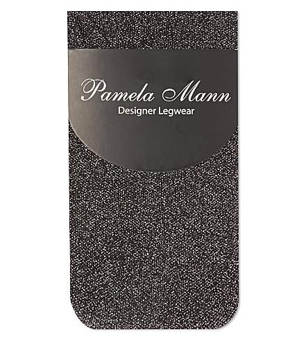 PAMELA MANN Lurex ankle sock (Black/silver