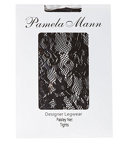 PAMELA MANN Paisley net tights (Black