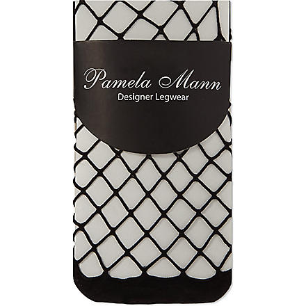 PAMELA MANN Knee high net socks (Black