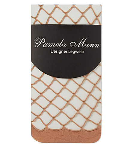 PAMELA MANN Knee high net socks (Natural