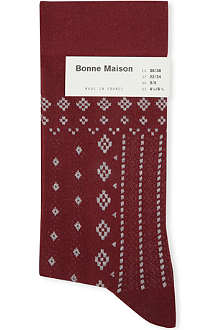 BONNE MAISON Lace and embroidery ankle socks