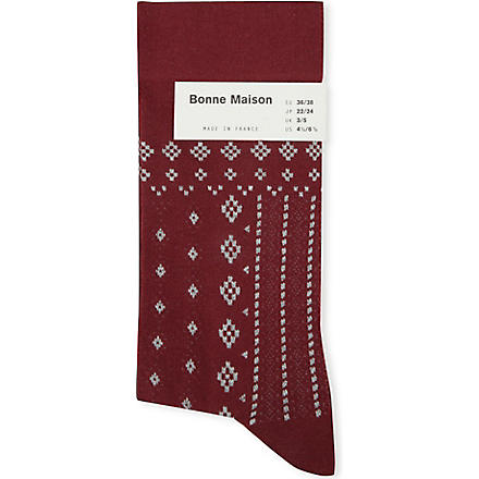 BONNE MAISON Lace and embroidery ankle socks (Red