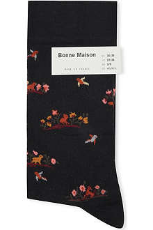 BONNE MAISON Floral and bird ankle socks