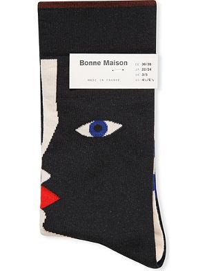 BONNE MAISON Face cotton-blend socks