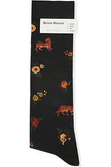 BONNE MAISON Floral tiger long socks