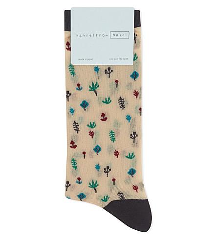 HANSEL FROM BASEL Botanical sheer ankle socks (Nude