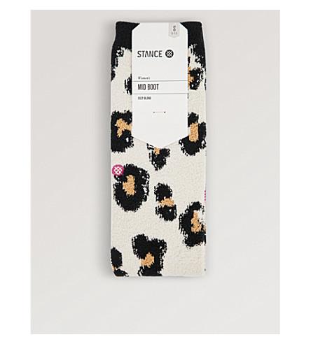 STANCE Bodacious leopard-print cotton-blend ankle socks (Cream
