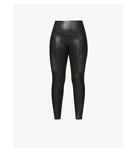 SPANX Moto faux-leather leggings (Very+black