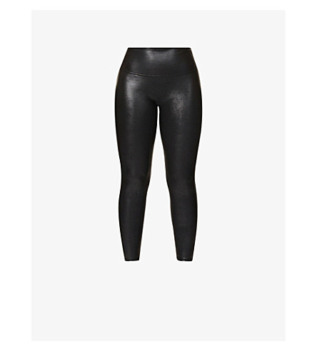 SPANX High-rise faux-leather leggings (Black