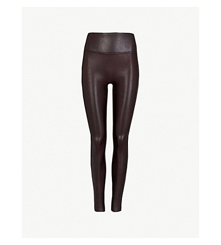 SPANX High-rise faux-leather leggings (Wine