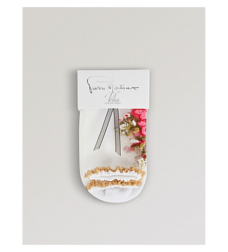 PIERRE MANTOUX Daisy floral socks (Bianco