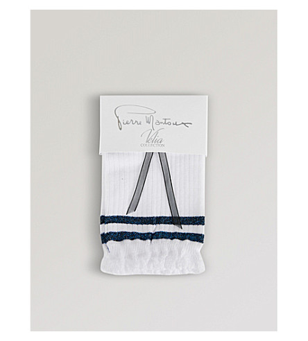 PIERRE MANTOUX Mickey metallic-stripe socks (Bianco+blu