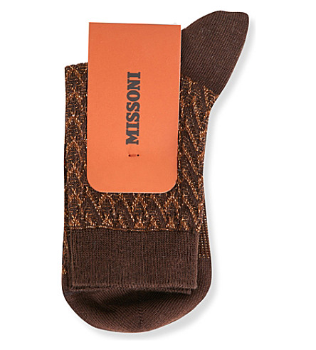 MISSONI Zigzag cotton-blend socks (Brown+0005