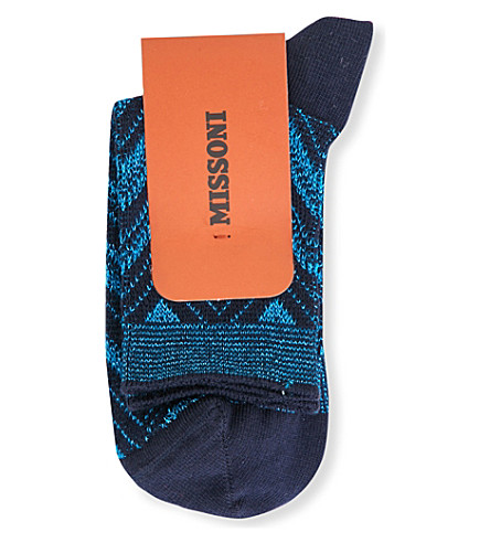 MISSONI Zigzag short socks (Blue+0002