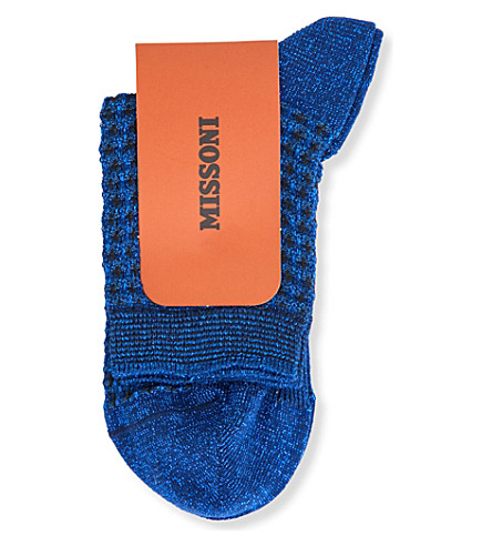 MISSONI Textured metallic-knit socks (Blue+0002