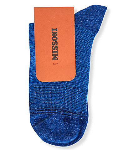 MISSONI Metallic cotton-blend textured socks (Blue+0001