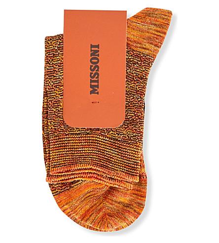 MISSONI Metallic cotton-blend ankle socks (Orange+0002