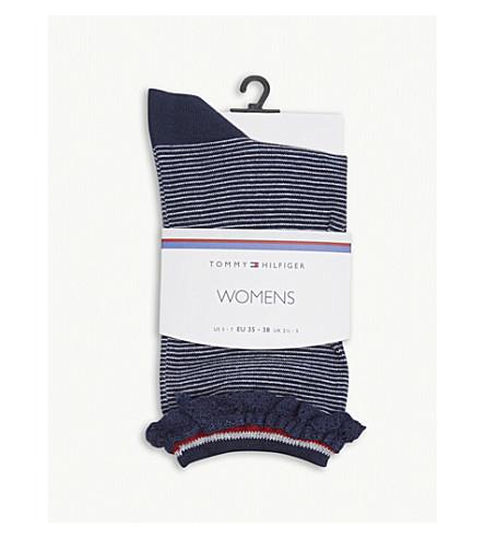 TOMMY HILFIGER Stripe lace cotton-blend socks (Midnight+blue
