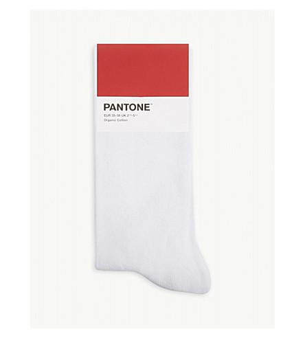 PANTONE Cotton-blend logo socks (White