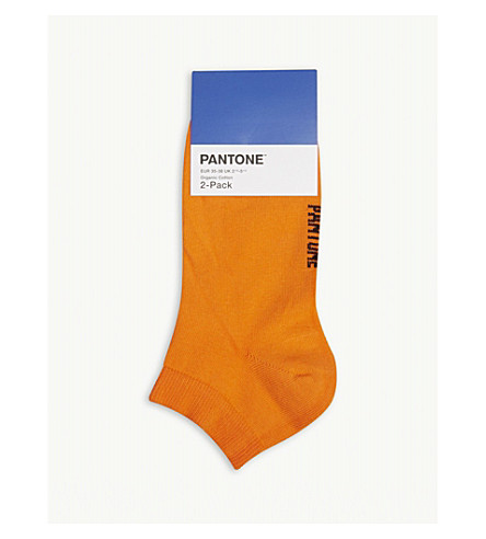 PANTONE Ankle cut cotton-blend socks pack of two (Orange