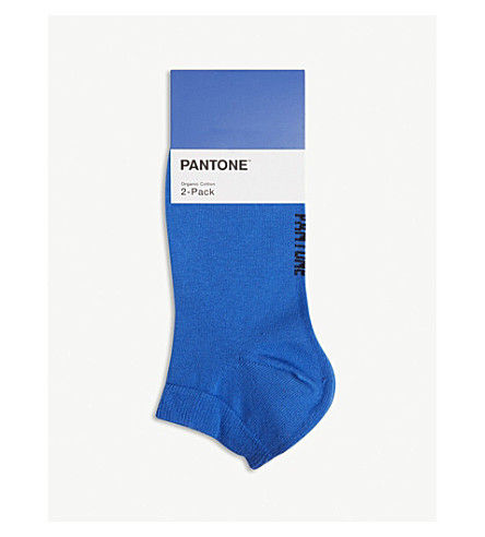 PANTONE Ankle cut cotton-blend socks pack of two (Royal